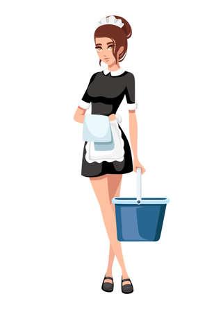 Beautiful smiling maid in classic french outfit. Cartoon character design. Women with brown short hair. Maid holding cleaning bucket and towel. Flat vector illustration isolated on white background.