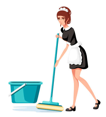 Beautiful smiling maid in classic french outfit. Cartoon character design. Women with brown short hair. Chambermaid cleaning floor with mop. Flat vector illustration isolated on white background. Ilustração