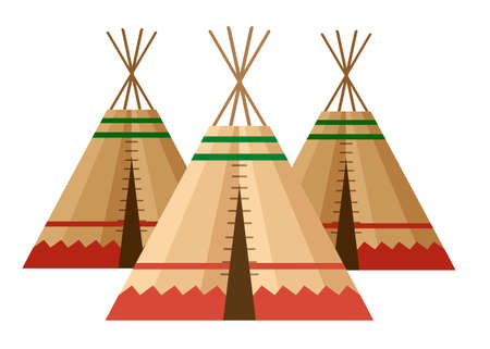 Indian tent or wigwam. Dwelling of north nations of Canada, Siberia, North America. Leather House. Flat vector Illustration on a white background. Illustration
