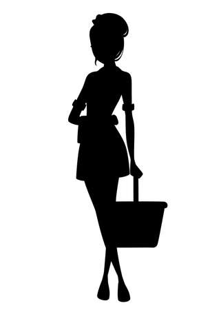 Beautiful maid in classic french outfit. Cartoon character design. Maid holding cleaning bucket and towel silhoutte. Flat vector illustration isolated on white background. Ilustración de vector