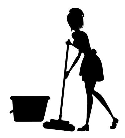 Beautiful maid in classic french outfit. Cartoon character design. Women with brown short hair. Chambermaid cleaning floor with mop silhoutte. Flat vector illustration on white background. Vettoriali