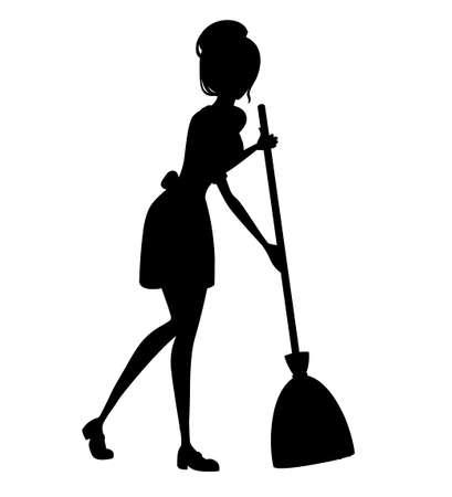 Belle femme de chambre en tenue française classique. Conception de personnage de dessin animé. Les femmes aux cheveux courts bruns. Femme de ménage tenant une silhouette de balai. Illustration vectorielle plane isolée sur fond blanc.