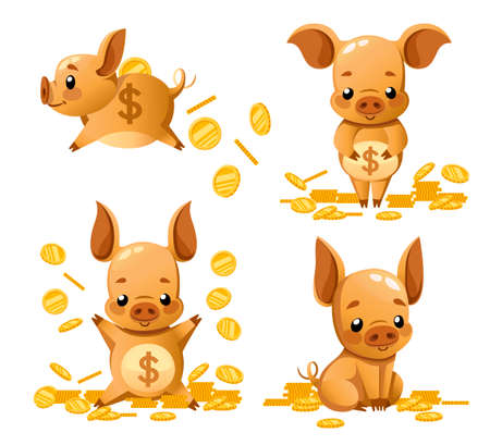 Collection of cute piggy bank. Cartoon character design. Little pig play with gold coin. Falling coins. Flat vector illustration isolated on white background.
