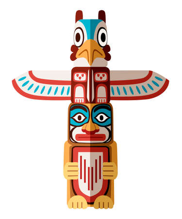 Colored Indian Totem. Wooden object symbol animal plant representation family clan tribe. Flat vector illustration isolated on white background. Çizim