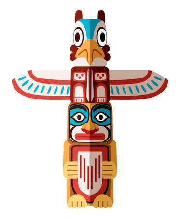 Kolorowy indyjski totem. Drewniany obiekt symbol reprezentacja roślin zwierzęcych plemię rodziny klanu. Płaskie wektor ilustracja na białym tle.