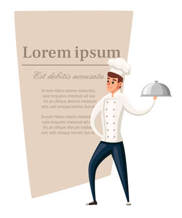 Young chef flat vector illustration isolated on white background. Place for text on brown area