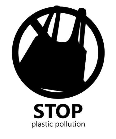Black silhouette. Stop plastic pollution. No plastic bags symbol. Saving ecology logo. Flat vector illustration on white background.