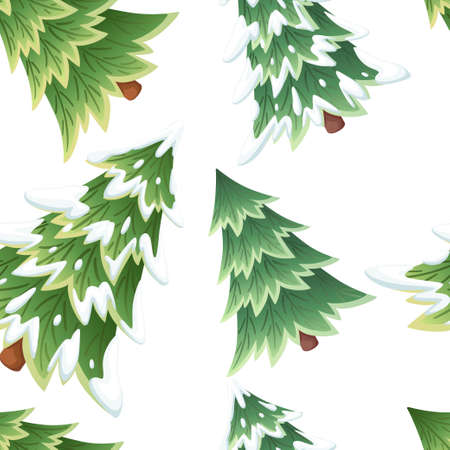 Seamless pattern. Collection of green spruce trees.