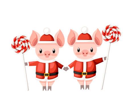 Two cute pigs in Christmas santa costume. Pig hold candy stick. Cartoon character design. Pink animal mascot. Flat vector illustration isolated on white background.