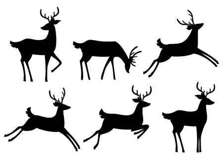 Black silhouette icon collection. Brown deer. Hoofed ruminant mammals. Cartoon animal design. Cute deer with antlers. Flat vector illustration isolated on white background.