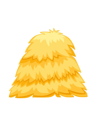 Golden color bale of hay. Haystack flat vector illustration isolated on white background.