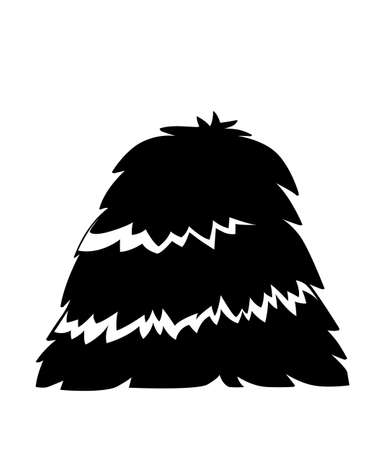 Black silhouette. Bale of hay. Haystack flat vector illustration isolated on white background.