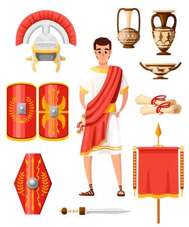 Sammlung antiker römischer Ikonen. Flacher Vektorstil. Römische Kleidung, Rüstungen, Waffen und Haushaltswaren. Cartoon-Charakter-Design. Abbildung isoliert auf weißem Hintergrund.