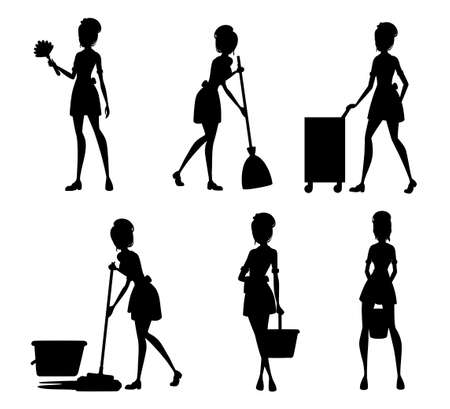 Black silhouette. Collection of maids in french outfits. Hotel staff engaged in performance of service duties. Chambermaid cleaning floor with mop. Vector illustration isolated on white background.