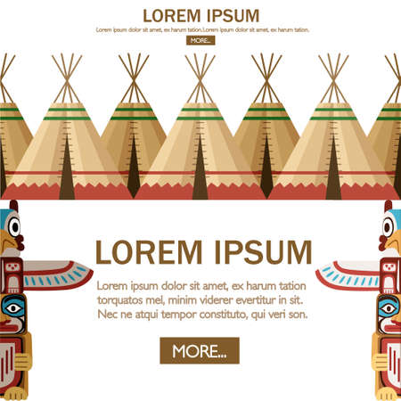 Group of Indian tent or wigwam. Dwelling of north nations of Canada, Siberia, North America. Leather House. Flat vector Illustration on a white background. Web site page of mobile app design.