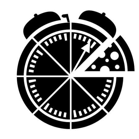 Schwarze Silhouette. Symbol für die Express-Pizzalieferung. Essenslieferung mit Stoppuhr. Flache Vektorillustration lokalisiert auf weißem Hintergrund.