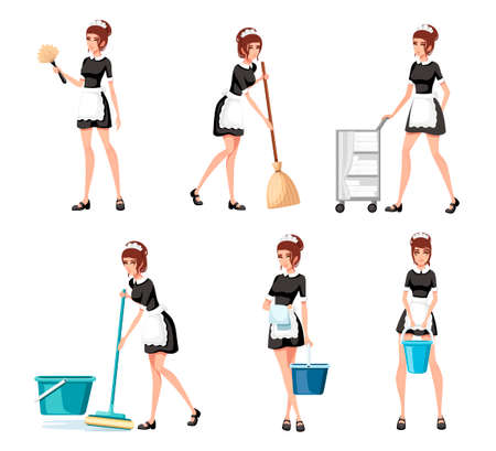 Collection of maids in french outfits. Hotel staff engaged in performance of service duties. Chambermaid cleaning floor with mop. Flat vector illustration isolated on white background. Stock Illustratie