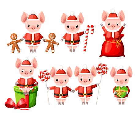 Cute pig in Christmas santa costume collection. Cartoon character design. Little pigs with lollipops, gingerbread cookie and gift boxes. Flat vector illustration isolated on white background.