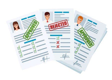 Application documents with rejected and approved stamp. Rejected and approval application or resume. Paper form with checkboxes and photo. Flat vector illustration on white background. Vector Illustratie