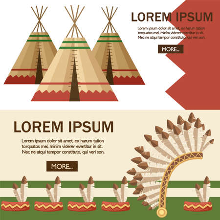 Group of Indian tent or wigwam with Warbonnet. Dwelling of north nations of Canada, Siberia, North America. Leather House. Flat vector Illustration. Web site page of mobile app design.