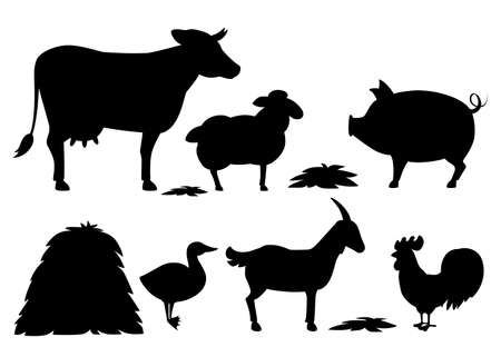 Black silhouette. Animal farm set with stack of hay. Domestic animal collection. Cartoon animal design. Flat vector illustration isolated on white background.