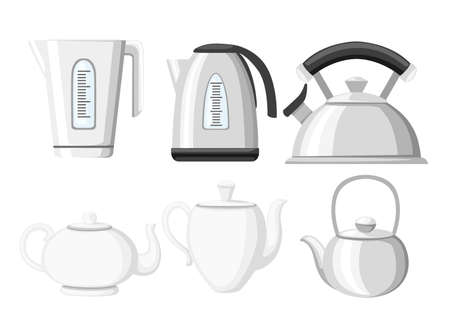 Modern kettle and teapot icon collection. Stainless steel, plastic and ceramic teapot kitchenware. Flat vector illustration isolated on white background.  イラスト・ベクター素材