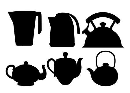Black silhouette. Modern kettle and teapot icon collection. Stainless steel, plastic and ceramic teapot kitchenware. Flat vector illustration isolated on white background.
