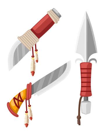 Satz Dolche und Messer Native American Indian. Arme aus Kaltstahl mit Leder- und Federdesign. Flache Vektorillustration lokalisiert auf weißem Hintergrund.