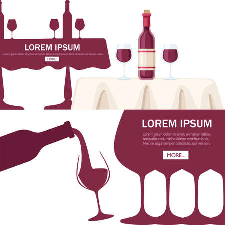 Abstract  or illustration. Red wine pouring from bottle to glass. Flat vector illustration on white background. Red wine bottle on white restaurant table. Place for text. Mobile app design.