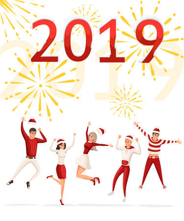 Happy mans and women's jumping celebrate Happy New Year. Red and white clothes, Christmas costume. Having fun people. Flat vector illustration on white background with golden fireworks.