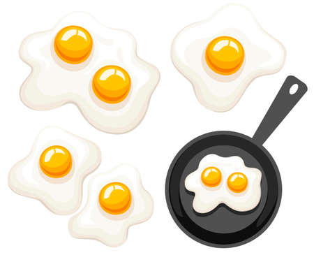Frying pan, top view. Pan with fried egg. Flat vector illustration isolated on white background.