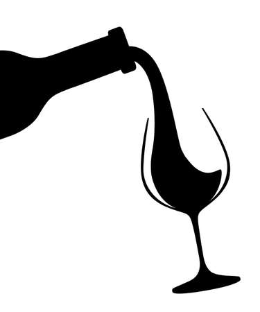 Black silhouette. Abstract logo or illustration. Red wine pouring from bottle to glass. Flat vector illustration isolated on white background.