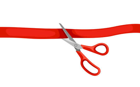 Red scissors cut red tape. Opening ceremony. Flat vector illustration isolated on white background.