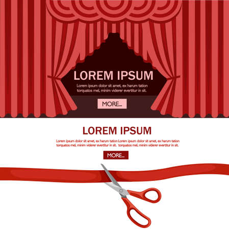 Red scissors cut red tape. Opening ceremony theater stage with red curtain. Flat vector illustration on white background.