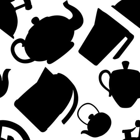 Black silhouette. Seamless pattern. Modern kettle and teapot icon collection. Stainless steel, plastic and ceramic teapot kitchenware. Flat vector illustration on white background.