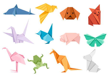 Origami japanese animal set. Modern hobby. Flat vector illustration isolated on white background. Colorful paper animals, low polygonal design.