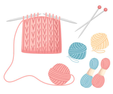 Set tools for sewing knitting needles. Balls of yarn, wool colorful illustration. Knitting process. Flat vector illustration on white background.