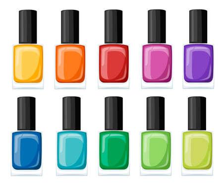 Asortyment lakierów do paznokci w pięknych, jasnych kolorach. Kolekcja do manicure. Ilustracje wektorowe