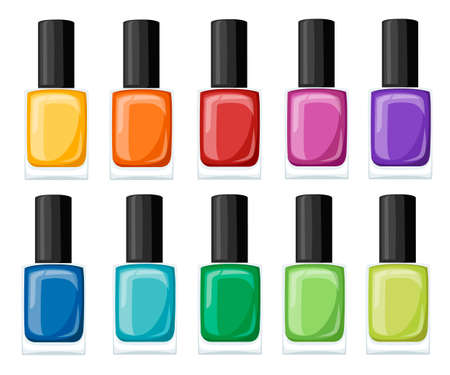Nail polish assortment of beautiful bright colors. Collection for manicure. Illustration