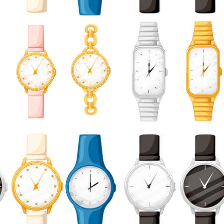 Seamless pattern. Set of different style and color wrist watches. Man and women watches collection. Flat vector illustration on white background.