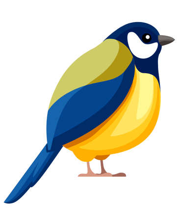 Titmouse bird sitting. Flat cartoon character design. Colorful bird icon. Cute titmouse template. Vector illustration isolated on white background.