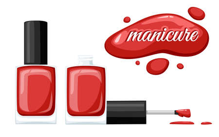 Round red glossy nail polish bottle with black cap. Flat vector illustration on white background. Manicure concept. Opened bottle and drop of nail polish.