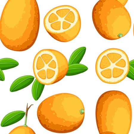 Seamless pattern. Exotic fruit kumquat with green leaves. Fresh fruit cartoon style. Flat vector illustration on white background. Whole and cut orange juice kumquat.