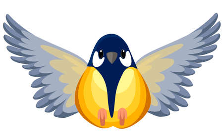 Front view of flying Titmouse bird. Flat cartoon character design. Colorful bird icon. Cute titmouse template. Vector illustration isolated on white background. Illustration