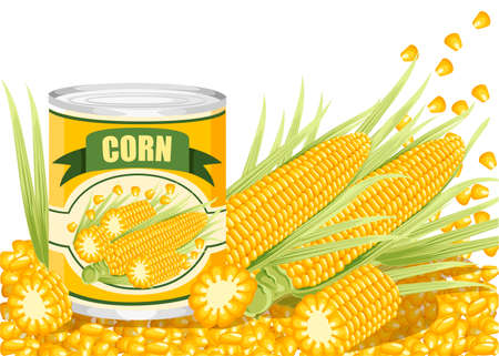 Corn in aluminum can. Canned sweet corn with corn cob logo. Product for supermarket and shop. Flat vector illustration on white background.
