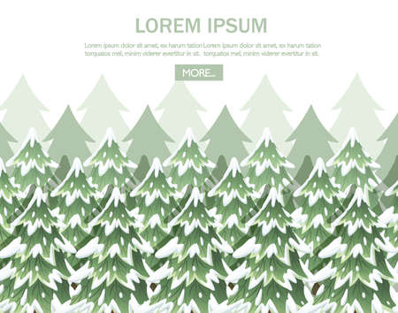 Green spruce landscape. Collection of green spruce trees. Stock Illustratie