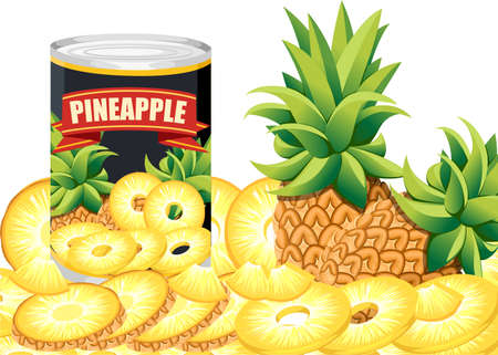 Pineapple in aluminum can. Canned sweet pineapple logo. Tinned pineapple rings. Product for supermarket and shop. Flat vector illustration on white background.