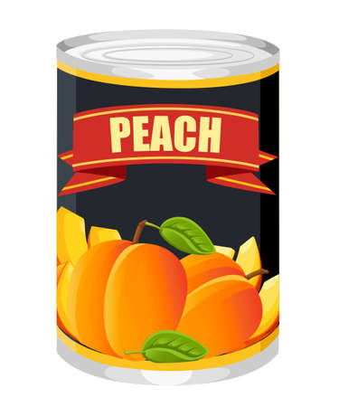 Peaches in aluminum can. Canned sweet peaches with green leaves