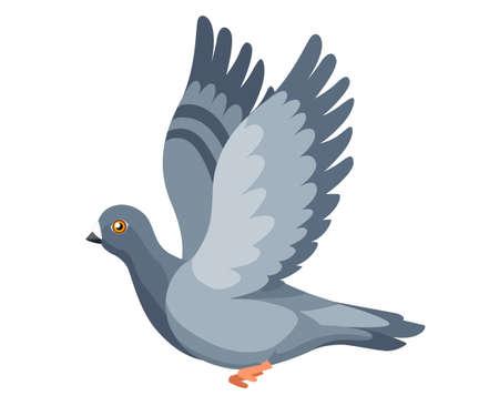 Pigeon bird flying, pigeon flaps its wings. Flat cartoon character design.