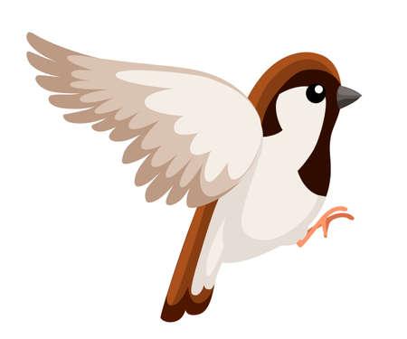 Side view of flying Sparrow bird. Flat cartoon character design.